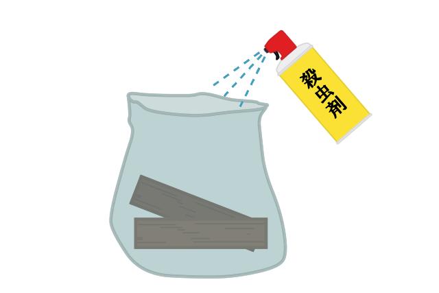1.被害に遭っている枕木をゴミ袋に入れ、殺虫剤を散布する